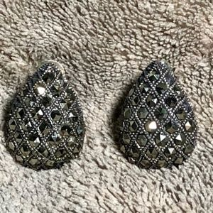 Sterling Silver Quilted Marcasite Studded Earrings